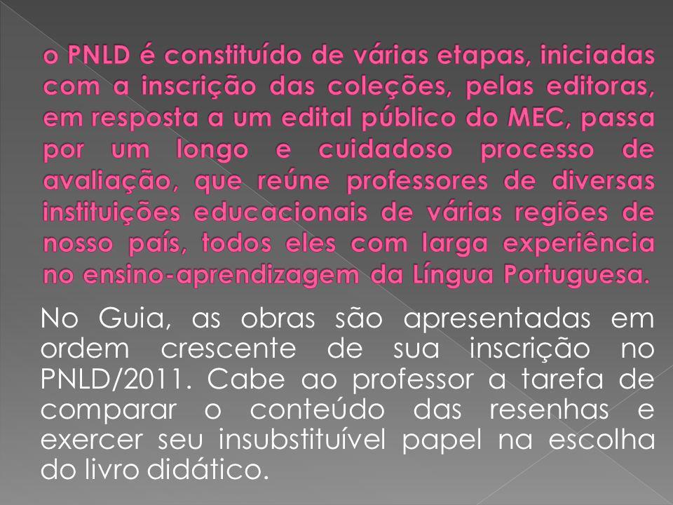 o PNLD é constituído de várias etapas, iniciadas com a inscrição das coleções, pelas editoras, em resposta a um edital público do MEC, passa por um longo e cuidadoso processo de avaliação, que reúne professores de diversas instituições educacionais de várias regiões de nosso país, todos eles com larga experiência no ensino-aprendizagem da Língua Portuguesa.