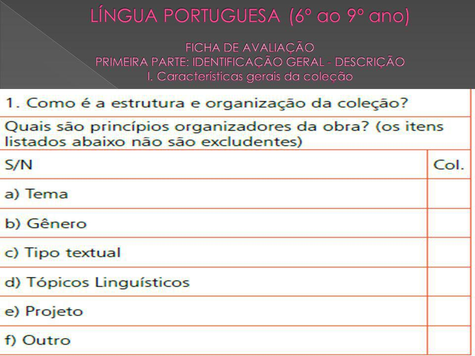 LÍNGUA PORTUGUESA (6º ao 9º ano) FICHA DE AVALIAÇÃO PRIMEIRA PARTE: IDENTIFICAÇÃO GERAL - DESCRIÇÃO I.