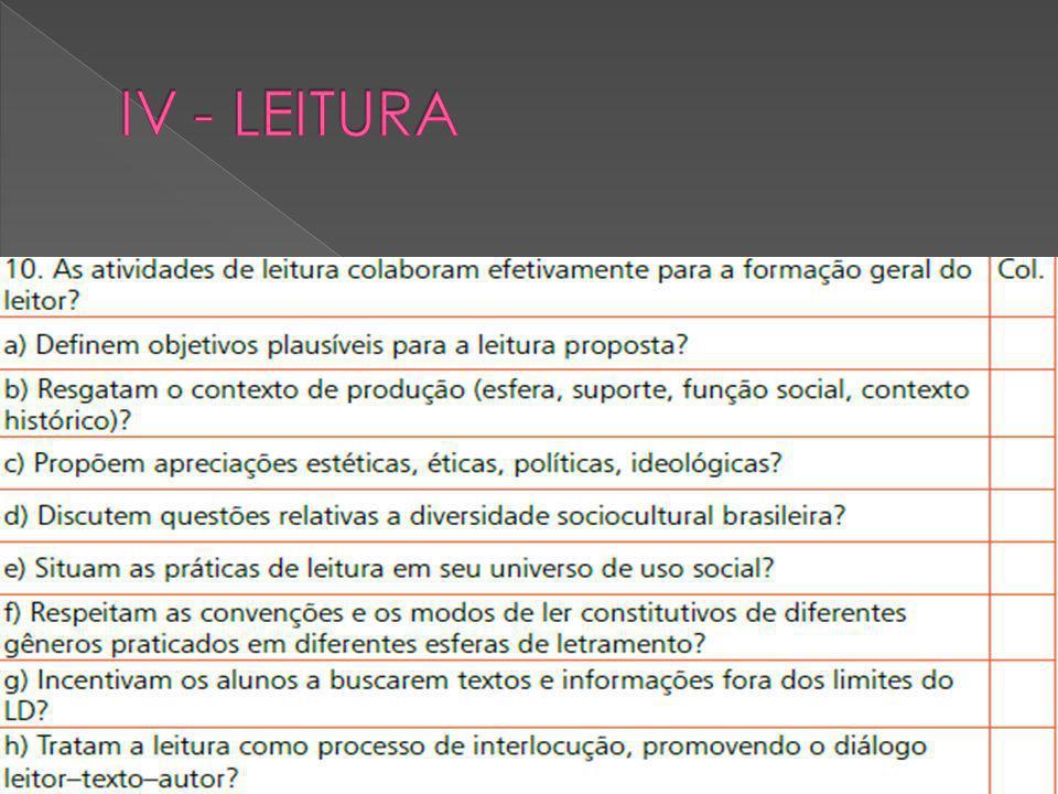IV - LEITURA