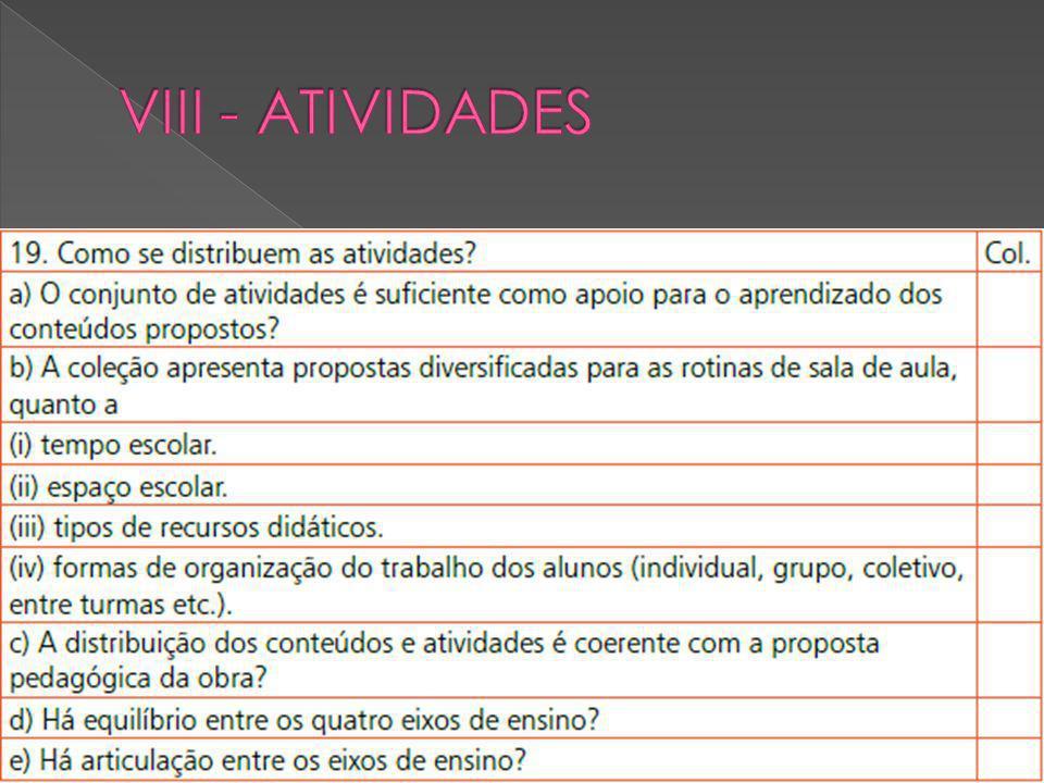 VIII - ATIVIDADES