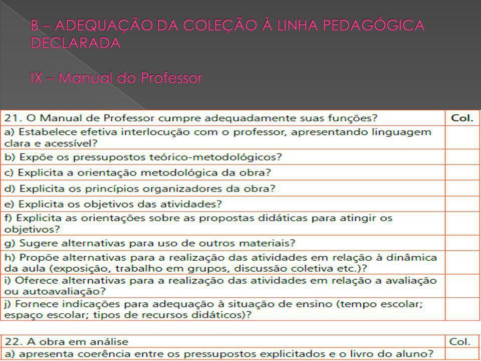B – ADEQUAÇÃO DA COLEÇÃO À LINHA PEDAGÓGICA DECLARADA IX – Manual do Professor