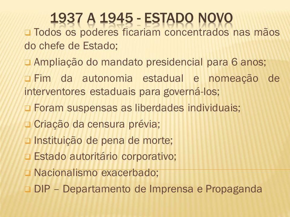 1937 a 1945 - Estado Novo Todos os poderes ficariam concentrados nas mãos do chefe de Estado; Ampliação do mandato presidencial para 6 anos;
