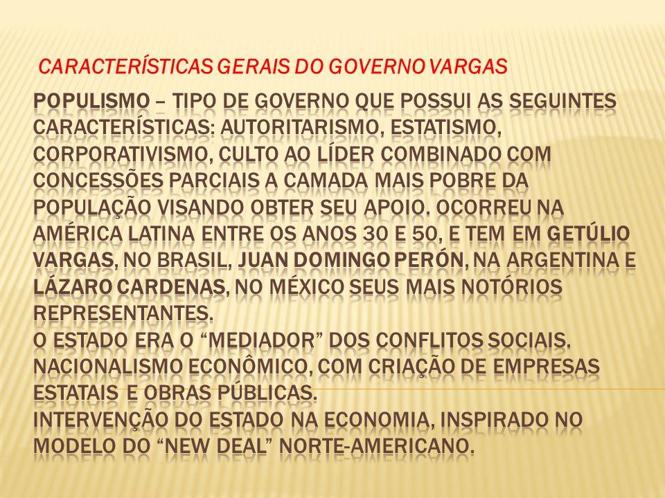 CARACTERÍSTICAS GERAIS DO GOVERNO VARGAS