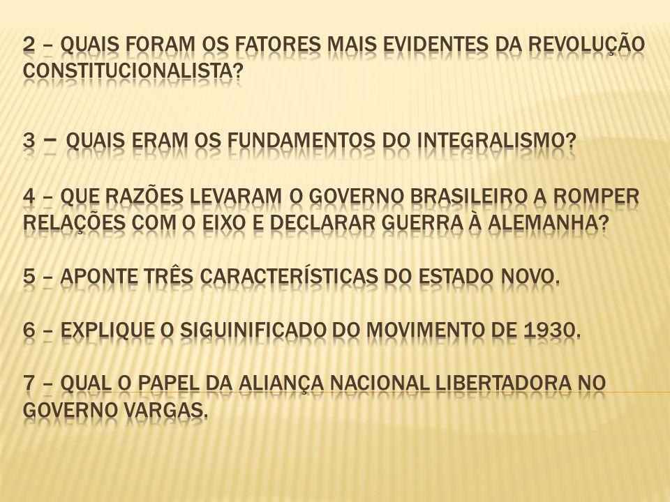 2 – Quais foram os fatores mais evidentes da Revolução constitucionalista.