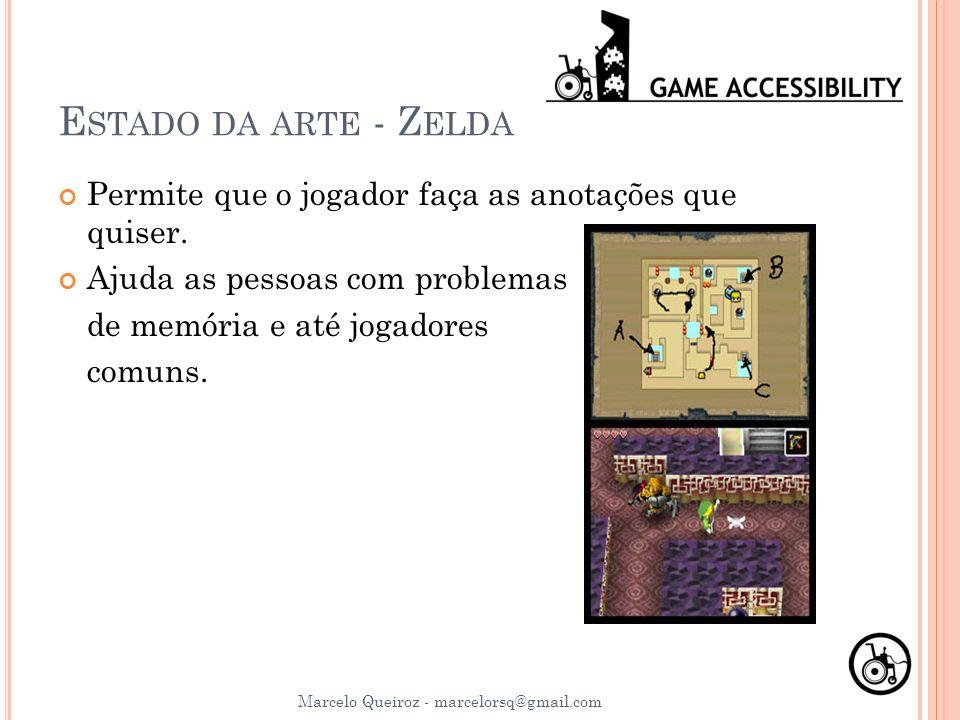 Estado da arte - Zelda Permite que o jogador faça as anotações que quiser. Ajuda as pessoas com problemas.