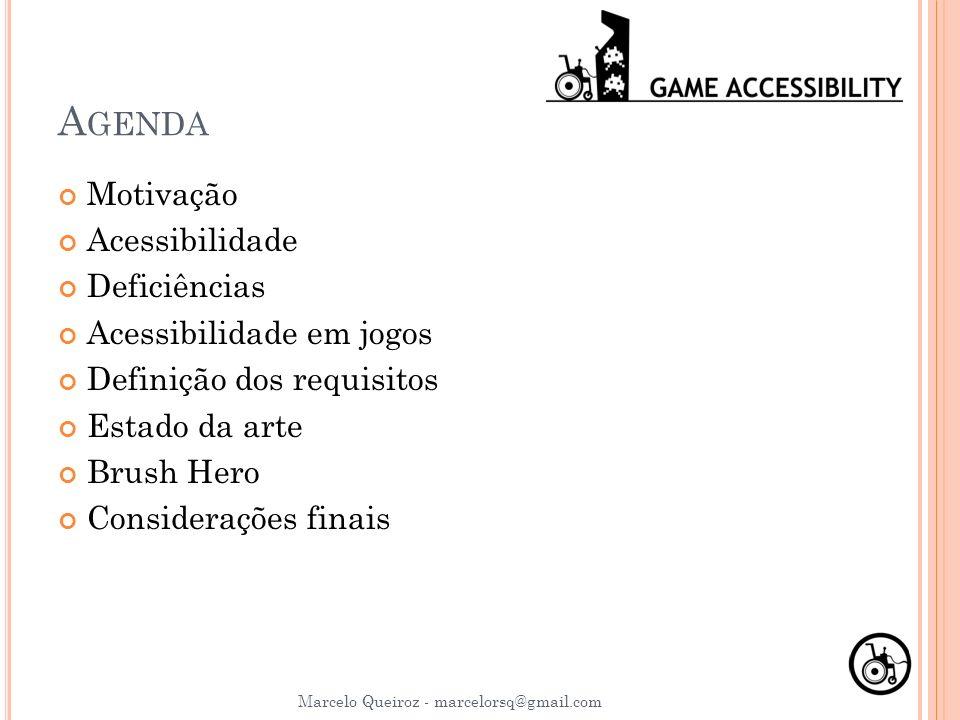 Agenda Motivação Acessibilidade Deficiências Acessibilidade em jogos