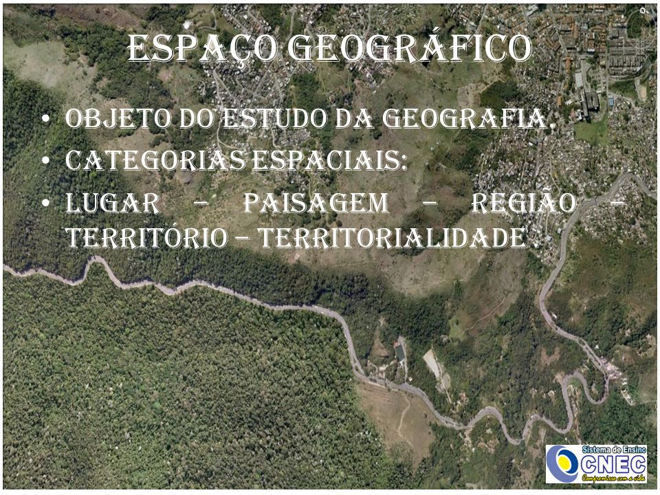 ESPAÇO GEOGRÁFICO Objeto do estudo da Geografia. Categorias espaciais: