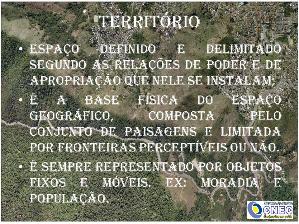 Território Espaço definido e delimitado segundo as relações de poder e de apropriação que nele se instalam;