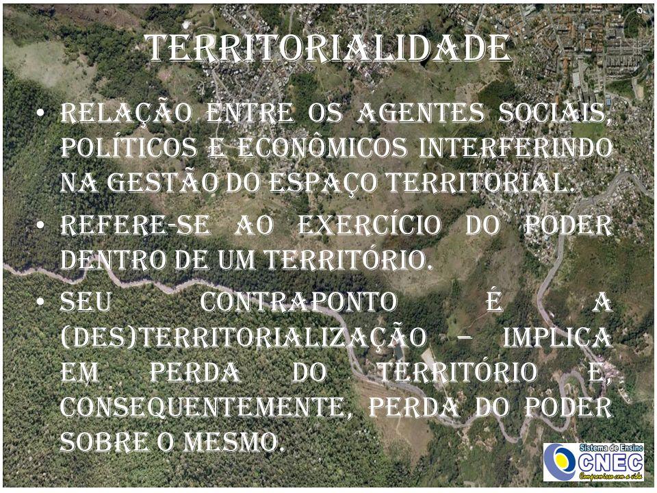 Territorialidade Relação entre os agentes sociais, políticos e econômicos interferindo na gestão do espaço territorial.