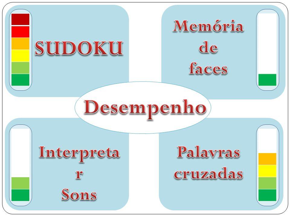 Memória de faces SUDOKU Desempenho Interpretar Sons Palavras cruzadas