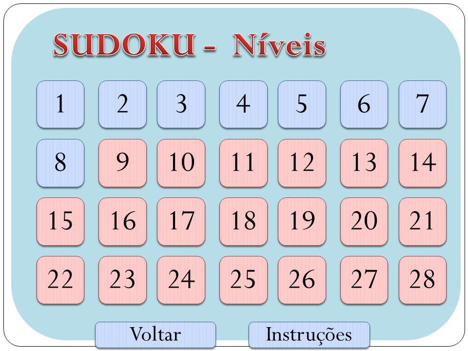 SUDOKU - Níveis 1. 2. 3. 4. 5. 6. 7. 8. 9. 10. 11. 12. 13. 14. 15. 16. 17. 18. 19.