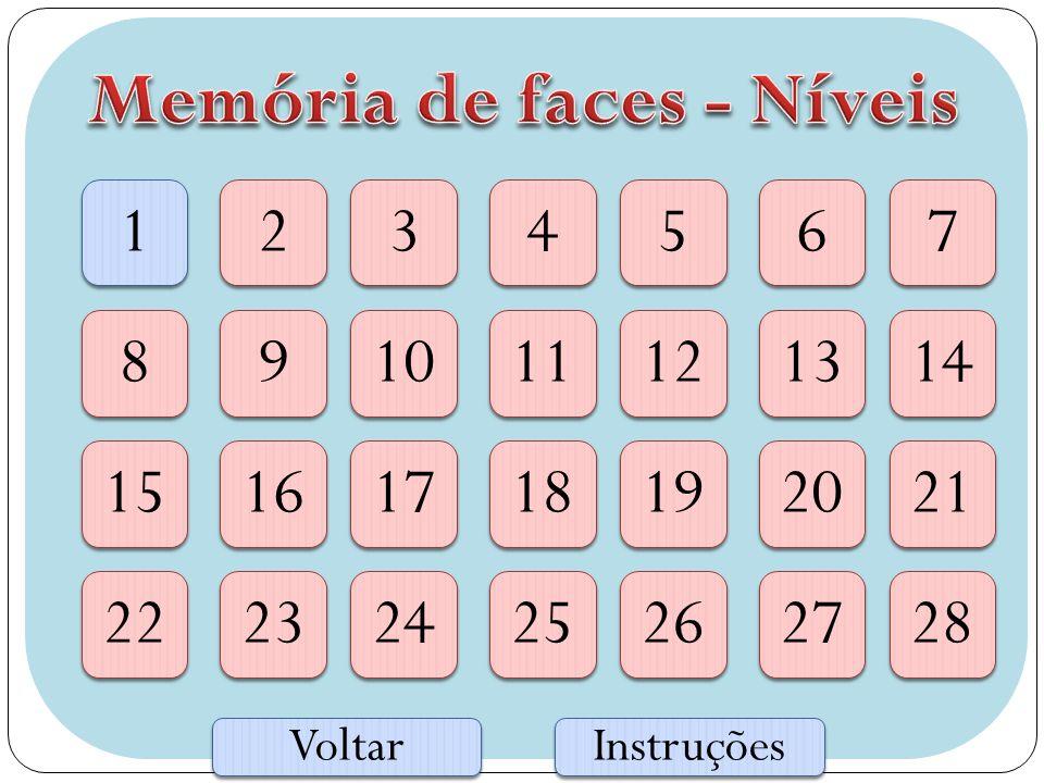 Memória de faces - Níveis
