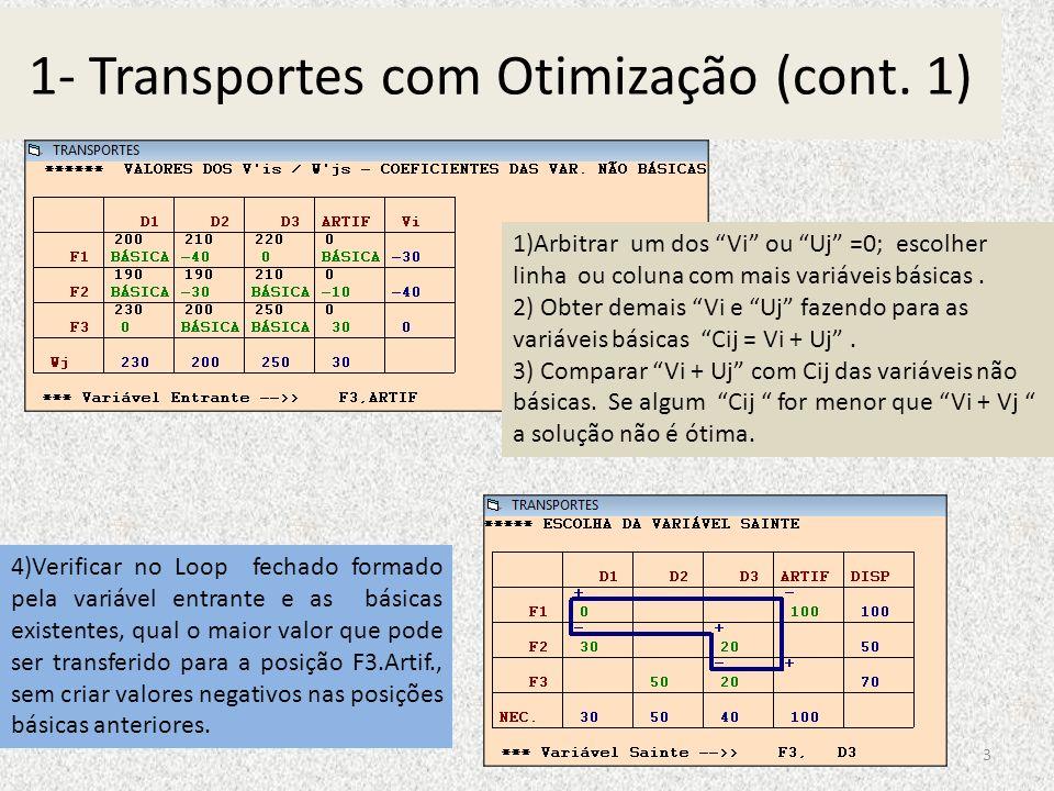 1- Transportes com Otimização (cont. 1)