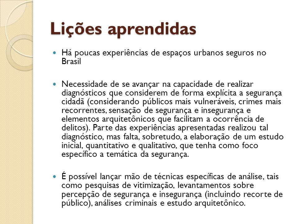 Lições aprendidas Há poucas experiências de espaços urbanos seguros no Brasil.