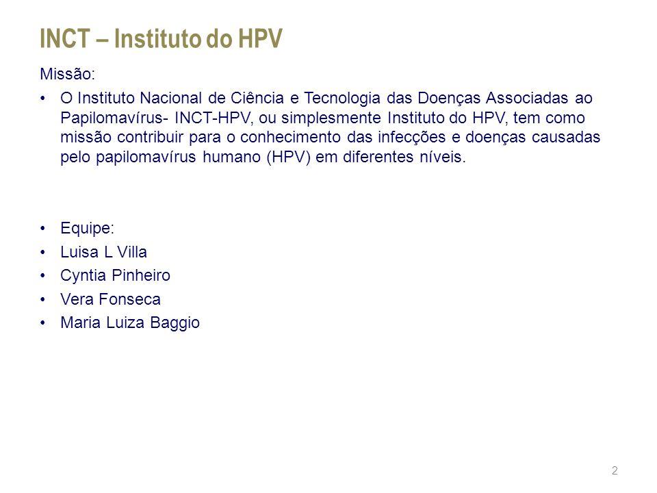 INCT – Instituto do HPV Missão: