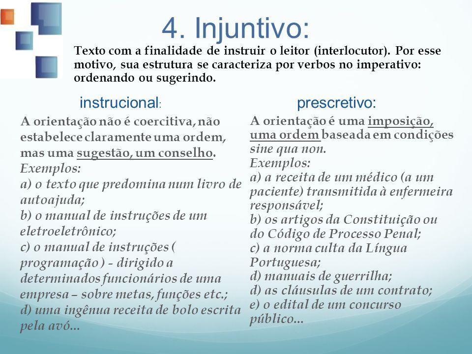 4. Injuntivo: instrucional: prescretivo: