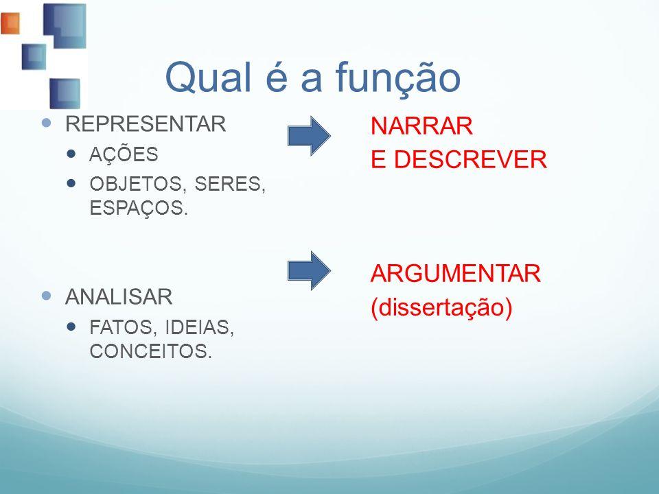 Qual é a função NARRAR E DESCREVER ARGUMENTAR (dissertação)