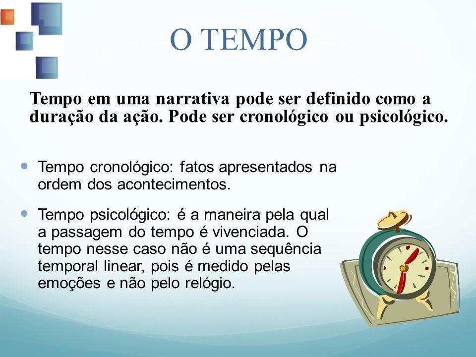 O TEMPO Tempo em uma narrativa pode ser definido como a duração da ação. Pode ser cronológico ou psicológico.