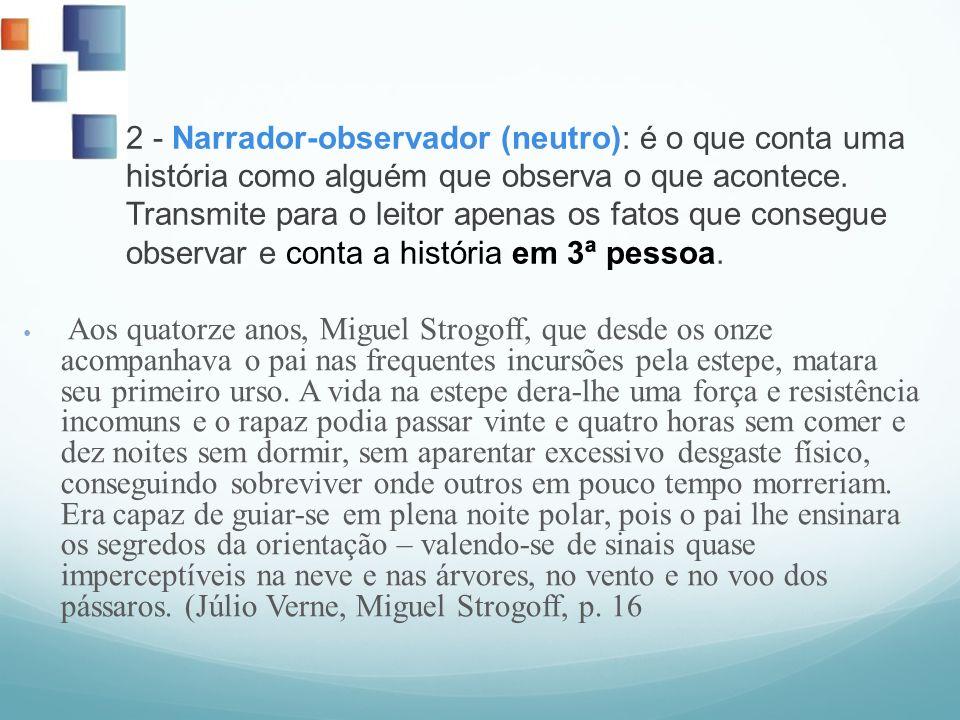 2 - Narrador-observador (neutro): é o que conta uma história como alguém que observa o que acontece. Transmite para o leitor apenas os fatos que consegue observar e conta a história em 3ª pessoa.