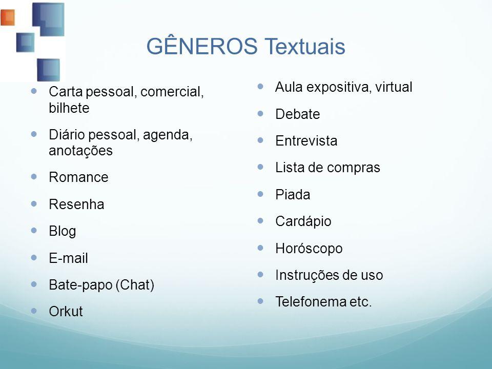 GÊNEROS Textuais Aula expositiva, virtual