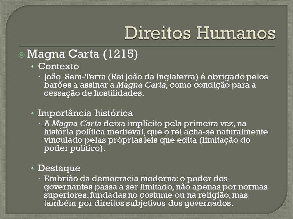 Direitos Humanos Magna Carta (1215) Contexto Importância histórica