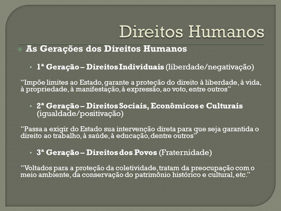 Direitos Humanos As Gerações dos Direitos Humanos