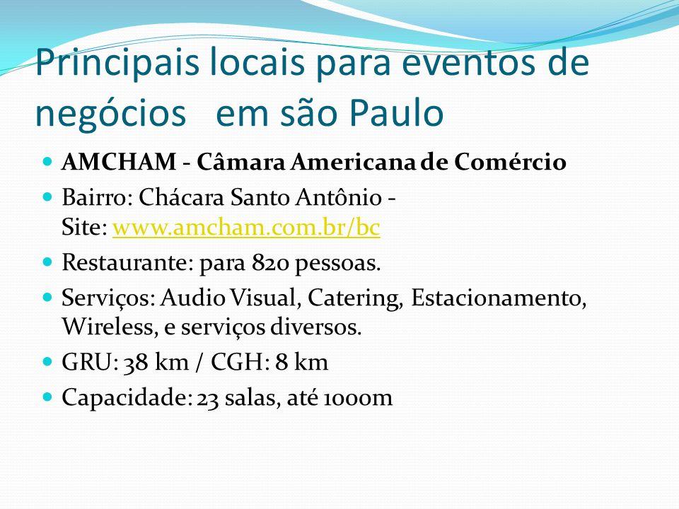 Principais locais para eventos de negócios em são Paulo