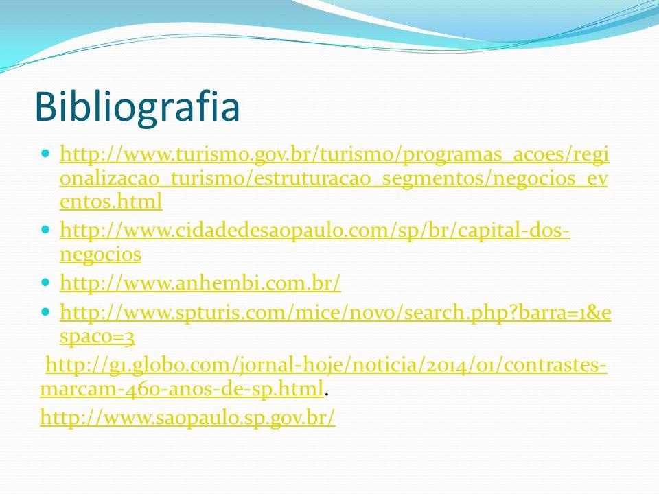 Bibliografia http://www.turismo.gov.br/turismo/programas_acoes/regionalizacao_turismo/estruturacao_segmentos/negocios_eventos.html.