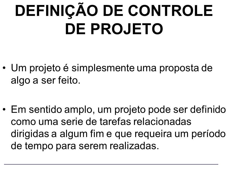 DEFINIÇÃO DE CONTROLE DE PROJETO