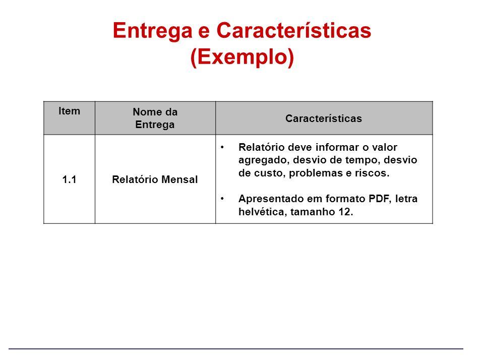 Entrega e Características (Exemplo)