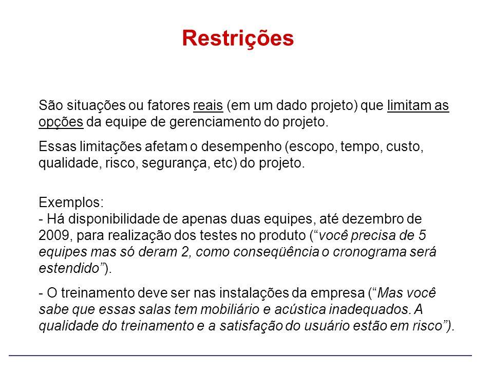 Restrições São situações ou fatores reais (em um dado projeto) que limitam as opções da equipe de gerenciamento do projeto.