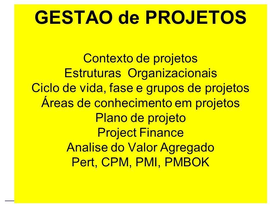 GESTAO de PROJETOS Contexto de projetos Estruturas Organizacionais Ciclo de vida, fase e grupos de projetos Áreas de conhecimento em projetos Plano de projeto Project Finance Analise do Valor Agregado Pert, CPM, PMI, PMBOK