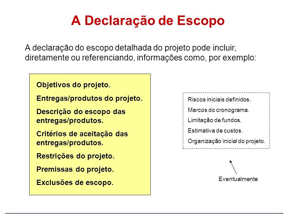 A Declaração de Escopo A declaração do escopo detalhada do projeto pode incluir, diretamente ou referenciando, informações como, por exemplo:
