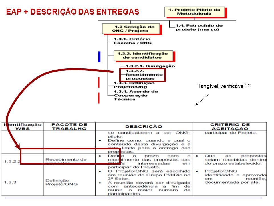 EAP + DESCRIÇÃO DAS ENTREGAS