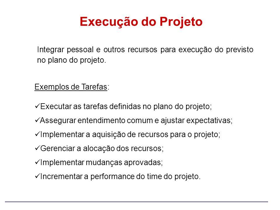 Execução do Projeto Integrar pessoal e outros recursos para execução do previsto no plano do projeto.