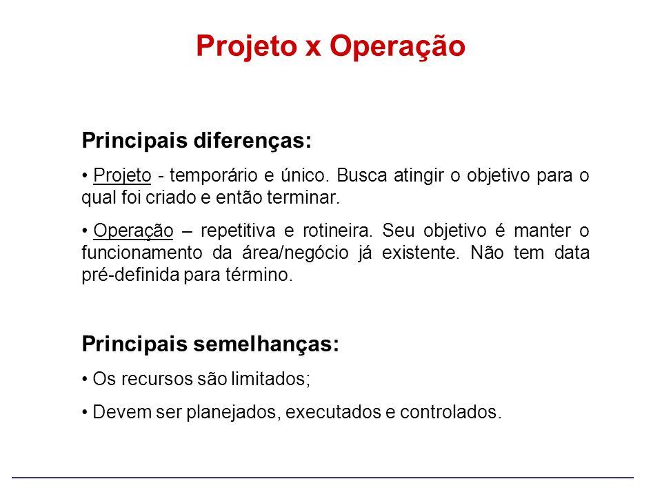 Projeto x Operação Principais diferenças: Principais semelhanças: