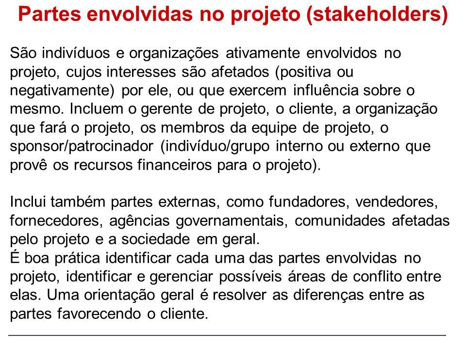 Partes envolvidas no projeto (stakeholders)
