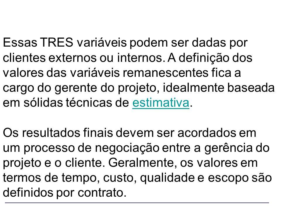 Essas TRES variáveis podem ser dadas por clientes externos ou internos