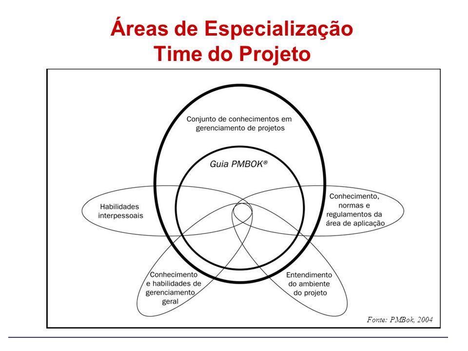 Áreas de Especialização Time do Projeto