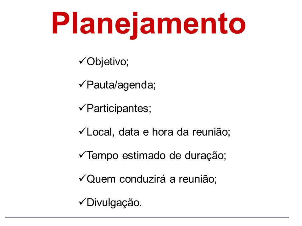 Planejamento Objetivo; Pauta/agenda; Participantes;