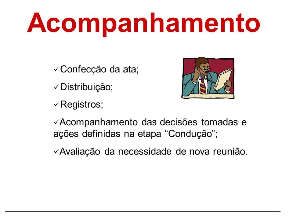Acompanhamento Confecção da ata; Distribuição; Registros;