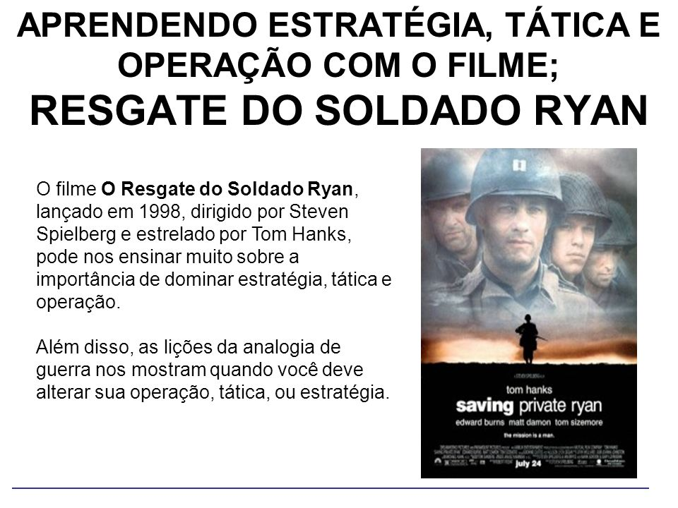 APRENDENDO ESTRATÉGIA, TÁTICA E OPERAÇÃO COM O FILME; RESGATE DO SOLDADO RYAN