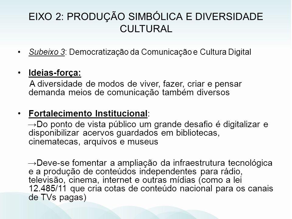 EIXO 2: PRODUÇÃO SIMBÓLICA E DIVERSIDADE CULTURAL