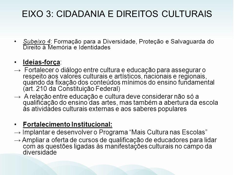 EIXO 3: CIDADANIA E DIREITOS CULTURAIS