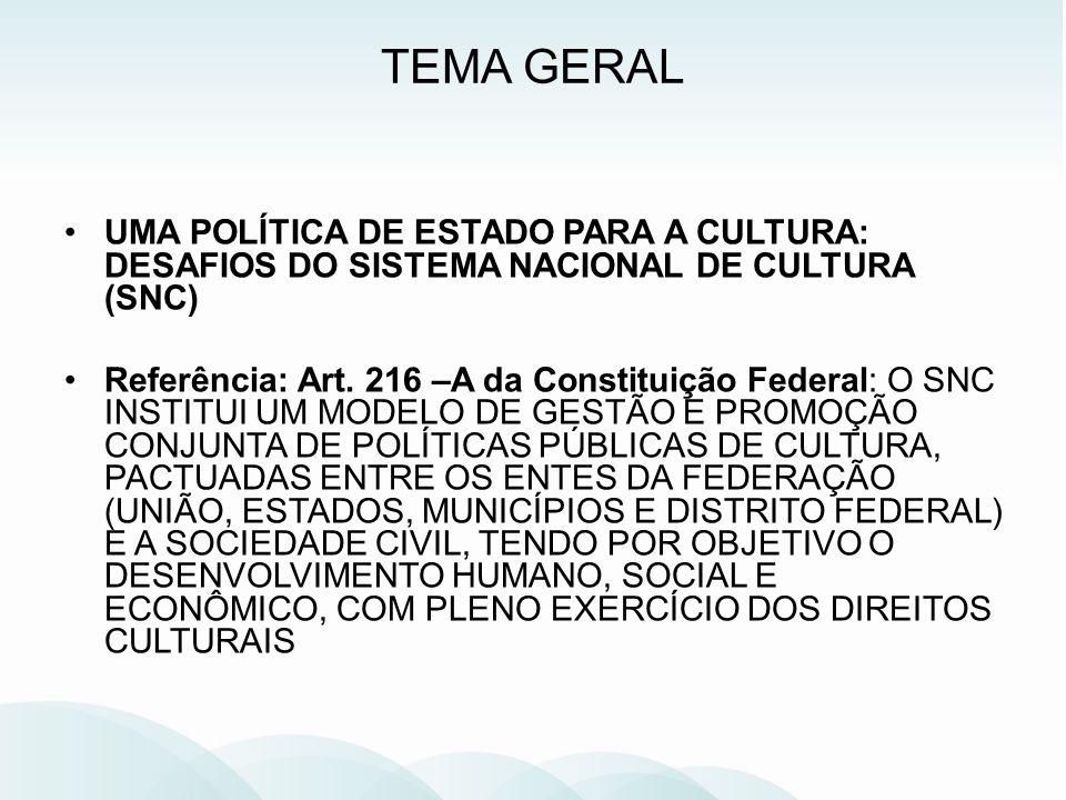 TEMA GERAL UMA POLÍTICA DE ESTADO PARA A CULTURA: DESAFIOS DO SISTEMA NACIONAL DE CULTURA (SNC)