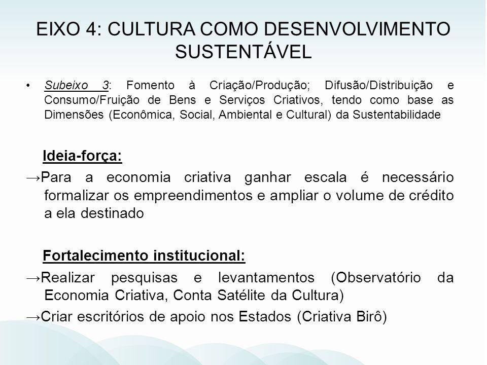 EIXO 4: CULTURA COMO DESENVOLVIMENTO SUSTENTÁVEL