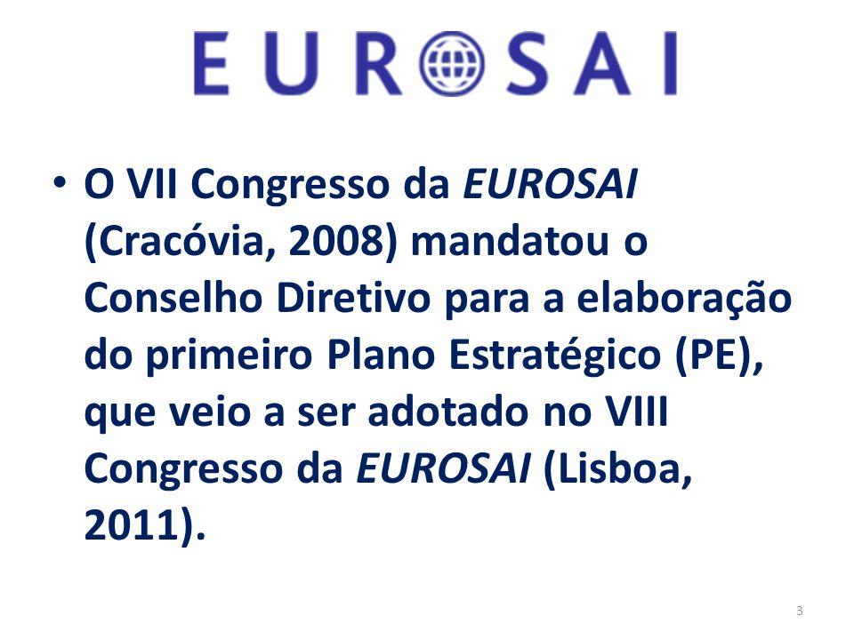 O VII Congresso da EUROSAI (Cracóvia, 2008) mandatou o Conselho Diretivo para a elaboração do primeiro Plano Estratégico (PE), que veio a ser adotado no VIII Congresso da EUROSAI (Lisboa, 2011).