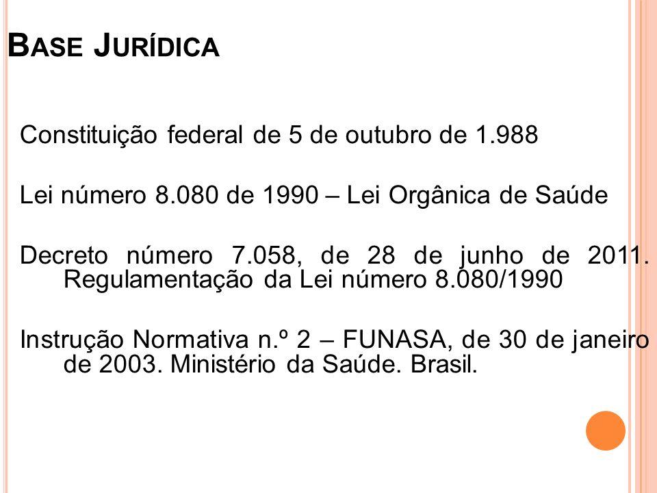 Base Jurídica Constituição federal de 5 de outubro de 1.988