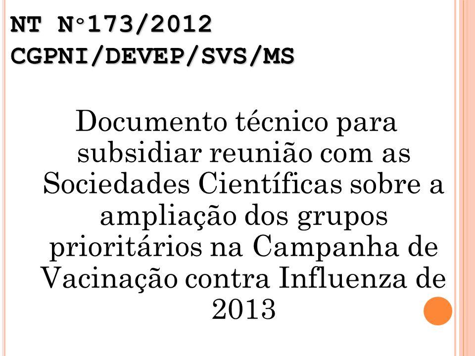 NT Nº173/2012 CGPNI/DEVEP/SVS/MS