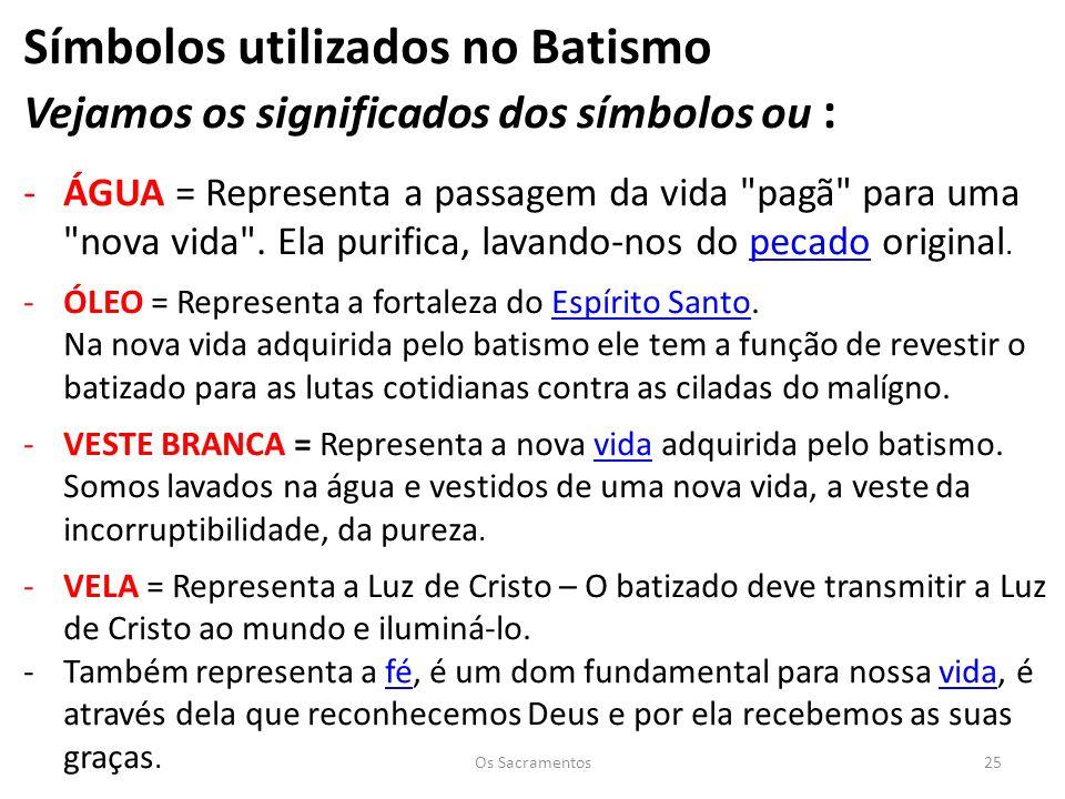 Símbolos utilizados no Batismo